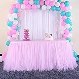 Falda de mesa de tutú para bebé con falda de tul rosa, hecha a mano, para decoración de bodas de cumpleaños, 78 x 275 cm