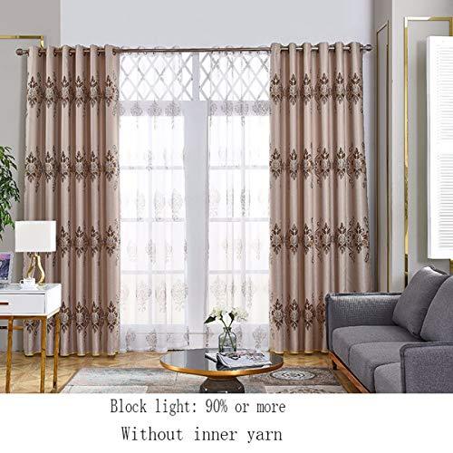 WBXZAL-Rideaux Le Coton et Lin entièrement ombragé Jacquard Salon Chambre Simple Rideau Rideau Moderne Produit Fini Couleur Pure,250,C