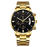 DEDIMA Orologi da uomo cronografo in acciaio inox impermeabile data analogico al quarzo moda orologio da polso per uomo – regalo di San Valentino per lui Oro e nero.