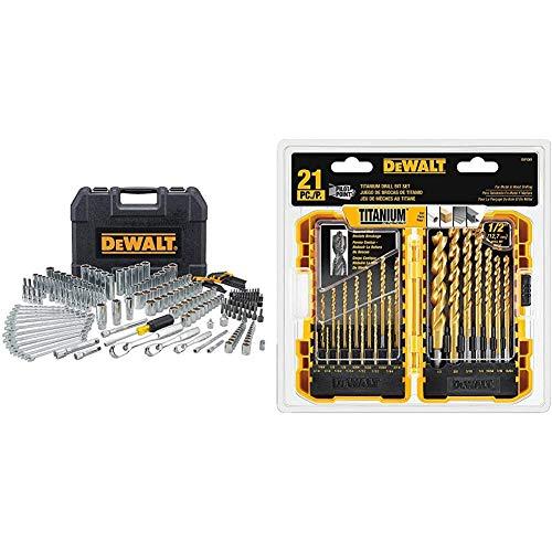 DEWALT Mechanics Tool Set, 247-Piece (DWMT81535) & Titanium Drill Bit Set, Pilot Point, 21-Piece (DW1361)