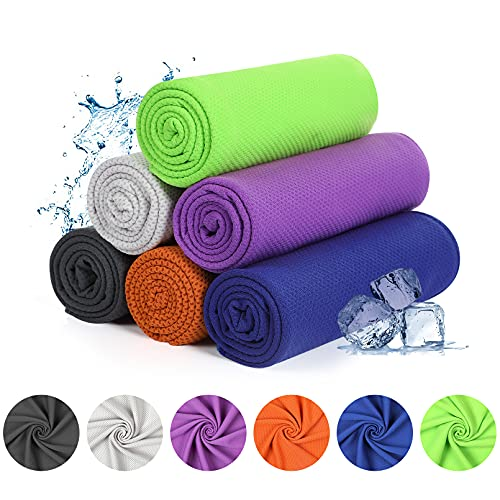 """Yoofoss Cooling Towel, 40""""x12"""", 6 Pack Ice Towel for Instant Cooling Relief, Microfiber Sport Towel for Yoga ,Golf, Gym, Running, Fitness, Workout"""