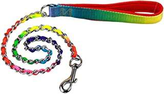 KaLaiXing brand Pet Products Heavy Duty stainless steel Chain link Pet Dog Lead Leash with Colorful PU Handle for Medium a...