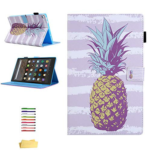 UUcover Kindle Fire HD 8 Wallet Case 8th/7th/6th/5th Generation, Stand PU Leather [Auto Sleep/Wake] Folio Cover with Card Pencil Holder for Amazon Fire HD 8 Tablet 2018/2017/2016/2015, Gold Pineapple