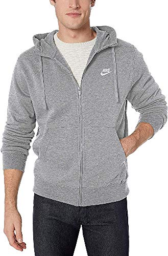 NIKE M NSW Club Hoodie FZ BB Sweatshirt, Hombre, dk Grey Heather/Matte Silver/(White), S