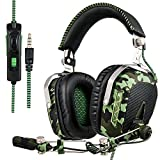 SADES SA926T Stereo Gaming Headset for PS4 New Xbox One, Bass Over-Ear Headphones with Mic and Volume Control for Laptop, PC, Mac, iPad, Computer, Smartphones(Camouflage)