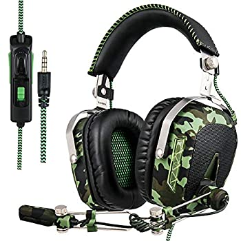 SADES SA926T Stereo Gaming Headset for PS4 New Xbox One Bass Over-Ear Headphones with Mic and Volume Control for Laptop PC Mac iPad Computer Smartphones Camouflage