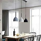 Lámpara de suspensión colgante de 3 cabezas Lámpara colgante de techo moderna nórdica Macaron Aluminio + Candelabro de madera Accesorio de iluminación Cocina Sala de estar Lámparas de techo