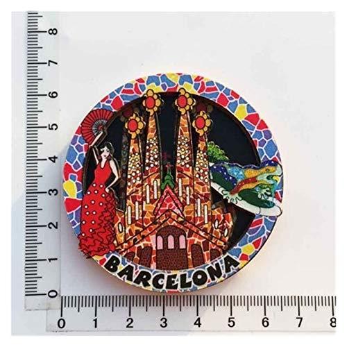 JSJJAWS Imanes Nevera Paisaje Cultural Mundial Frigorífico Magnet Souvenir Dominican Francia Estados Unidos Polonia Cantabria España Austria Suiza Decoración egipcia Regalo (Color : Barcelona)