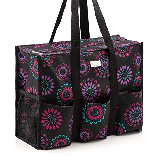 Pursetti Zip-Top Organizing Utility Tote Bag (Purple Circle_L) with Multiple Exterior & Interior...