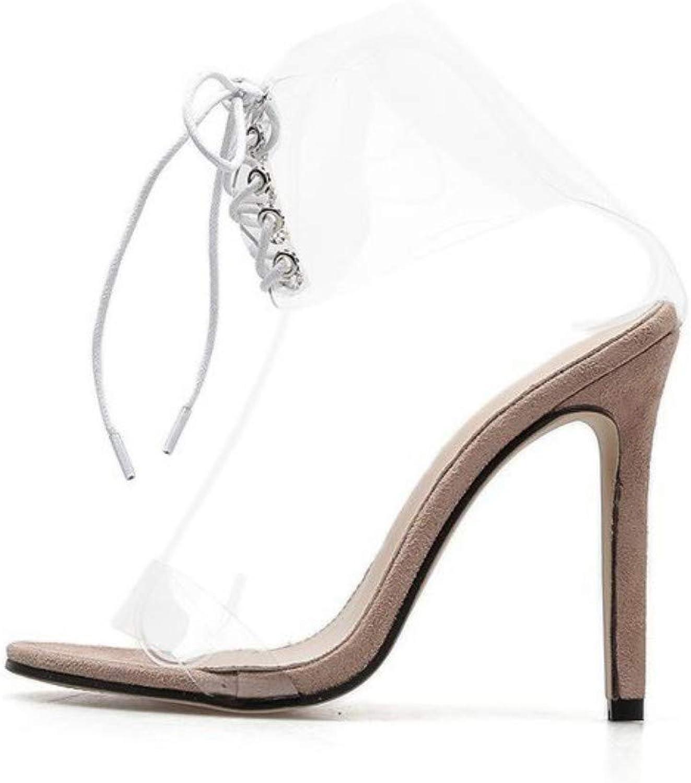 JQfashion Ladies High Heels Sandals Sexy Snake Patten Roman Lace Transparent Open Toe Summer