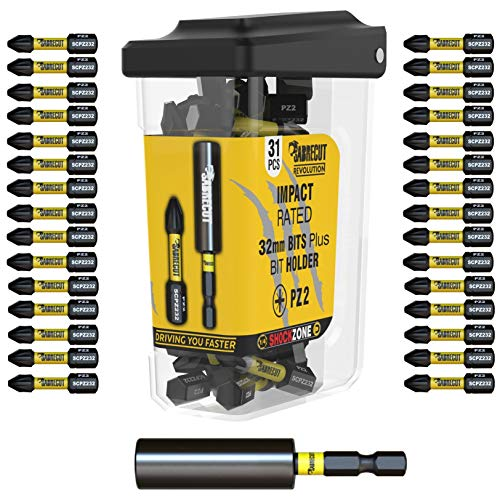 31 x SabreCut SCRPZ23231B 32mm PZ2 and 60mm Impact Bit Holder Magnetic Impact Screwdriver Driver Bits Set Single Ended Pozi Pozidrive Compatible with Dewalt Makita Milwaukee Bosch and Others
