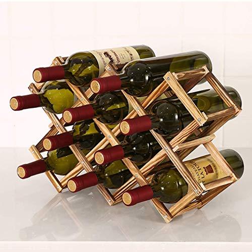 10 Botellas Estante Organizador de Mesa Soporte para Botellero de Madera Plegable, Organizador de Almacenamiento de Vino, Almacenamiento de Botelleros, Color Madera