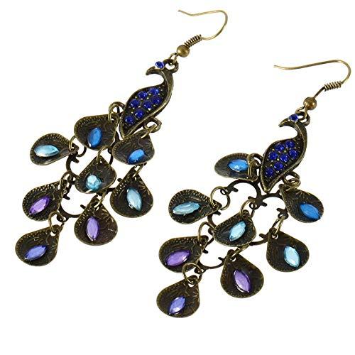 Frauen Bohemian Style Lady Lange Anhänger Vintage Retro Blau Pfau Ohrringe Einfach Passende Kleidung Fit Für Partys
