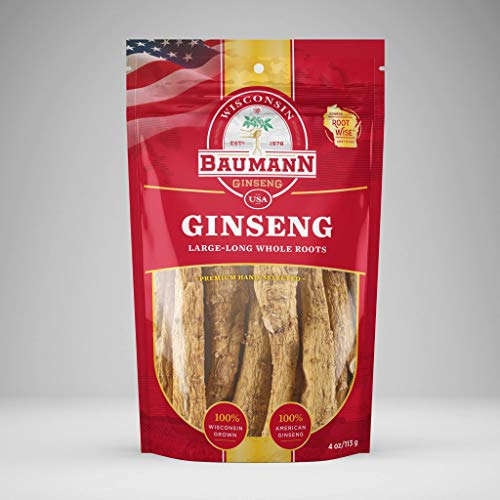 Baumann Ginseng Root (Long) - 100% American Ginseng/Ginseng Root/Wisconsin Ginseng/Hand-Selected...
