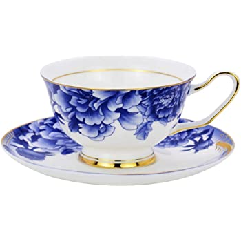 Attractive Flower Design AnnoCasa Bone China Teacup Coffee Cup and Saucer Set 7 oz