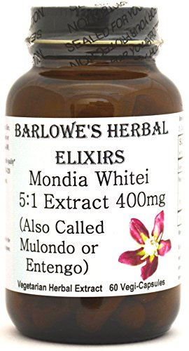 Mondia Whitei Tuber 5:1 Extract 60 400mg VegiCaps - Stearate Free, Glass Bottle! Free Shipping on Orders Over $49!
