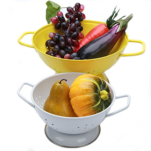 Hot Sale P410 Set of 2 Metal Food Strainer/Iron Fruit Colander/Bowl/Container/Home Kitchen Gift With Handle