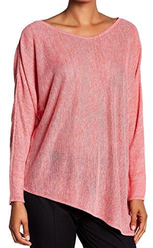 Eileen Fisher Asymmetrical Linen V-Neck Top, Rosewood (Medium)
