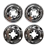 4pcs Front Rear Polished Stainless Steel 17' Dually 8 Lug Wheel Simulators Hub Caps Skins Liners Covers R17 w/Removable Centre Caps Compatible with 03-19 Ram 3500 Dually with 8-Lug 5-Hand Hole