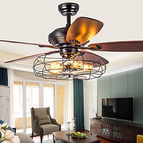 Luz de techo de grano de madera con ventilador Ventilador de techo de cristal Luz LED Ventilador industrial Candelabro Cadena de tracción Ventilador de techo con jaula de hierro de velocidad,52inch