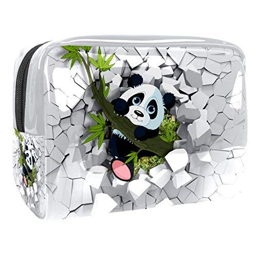 Trousse de toilette multifonction pour maquillage et maquillage - Organiseur pour femme - Motif panda - Bambou cassé