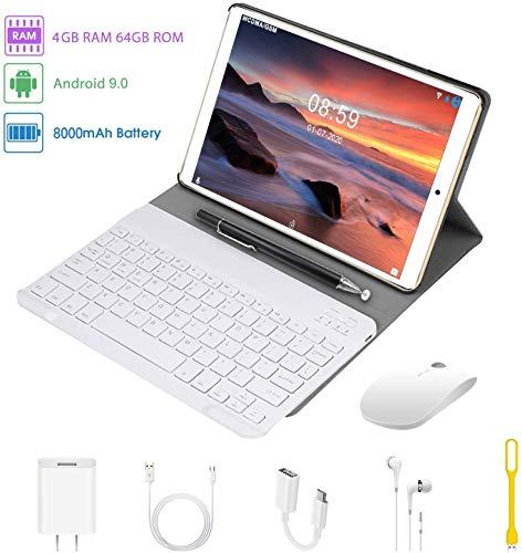 Tablet 10.1 Pulgadas 2 en 1 Tablets PC 4G/WiFi, 4GB RAM+64GB ROM/128GB Android 9.0 Quad-Core 8000mAh (Bluetooth Teclado y Estuche Protector) Dual SIM OTG/BT/GPS Tablets de función de Llamada (Oro)