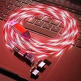 Fließendes LED Magnetisches Ladekabel 1M/2M 360° und 180° Drehung 3A Schnellladen Magnet USB kabel Sichtbar Bunt Aufleuchtendes 2-in-1 Magnetkabel für Android,Micro-USB,Type C,Smartphone Tablette