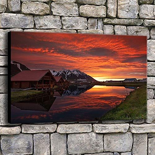 NIMCG Soggiorno Immagini murali Immagini Tramonto in Islanda Pittura Marrone Lago di Montagna Stampe...