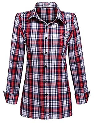 Meaneor Women's Polka Dot Lined Roll up Sleeve Button Down Plaid Shirt