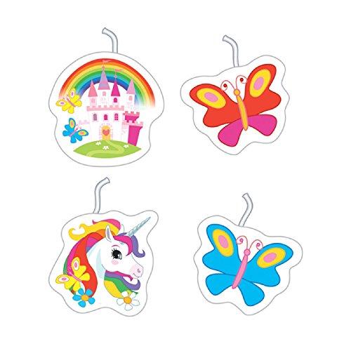 4Velas * Unicorn * para temática de Fiestas y cumpleaños//Velas para Tarta (Figura Velas Niños Fiesta de cumpleaños Decoración Tarta Pastel Unicornio sueño Mundo Fantasy