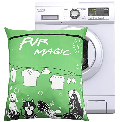 Popuppe Bolsa para la colada para mascotas, 70 x 80 cm, bolsa para la colada con cremallera para perros, gatos, toallas de caballo, ropa de cama, mantas, juguetes (verde)