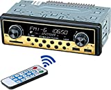 Dual USB Car Stereo Radio Receiver - Single Din, Bluetooth Hands Free Calling, with Time Display LCD, USB/SD/Aux, Support MP3/WMA/WAV, Dual Knob Car Multimedia Audio Player, USB Fast Charging