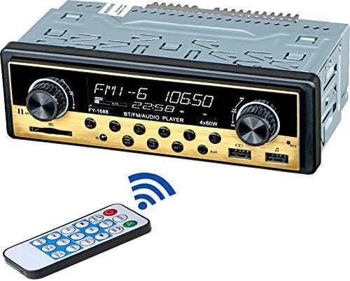 Receptor de radio estéreo de coche dual USB – un solo din, llamadas manos libres Bluetooth, con pantalla de tiempo, LCD, USB/SD/Aux,...