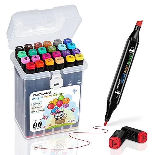 DIAOCARE 24 Farbige Acrylstifte Graffiti Stift Dual Tip Marker,Permanent Acrylstifte für Steine Bemalen,Wasserfeste Stifte für Leinwand Holz Glas Kinder