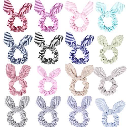 TOBATOBA Paquete de 16 bandas elásticas para el pelo con orejas de conejo, para mujeres (16 colores)