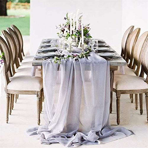 B-COOL 27 x120 Inches Gray Chiffon Table Runner Soft Sheer Table Runner Chiffon Silk Table Cloth Gauze Table Overlay Rustic Wedding Party Reception Top Table Decoration