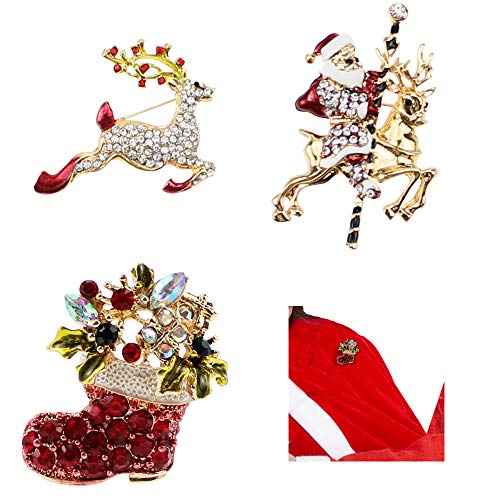 BlueXP 3 Pack Christmas Brooch Pins Santa Claus Santa Boots Reindeer Multi-Colored Rhinestone Crystal Brooch Pin for Women Girls Ladies Xmas Party Clothing Decoration