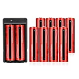 10 Pack 4000mAh 18650 Rechargeable Battery Li-ion Button Top and 2 Slot Charger 3.7v Battery for 18650 Flashlight Headlamp
