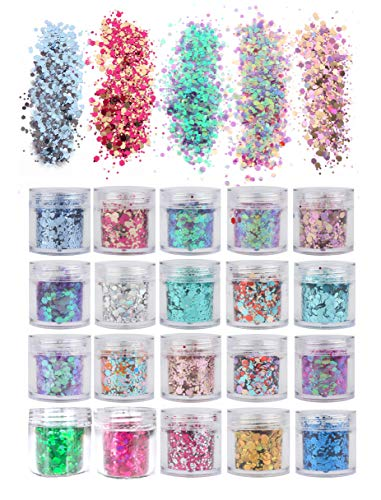 20 Colors/Boxes Holographic Cosmetic Festival Chunky Glitters Sequins, Nail Sequins Iridescent Flakes, Cosmetic Paillette Ultra-Thin Tips, for Body Face Hair Make Up Nail Art Mixed Color Glitter
