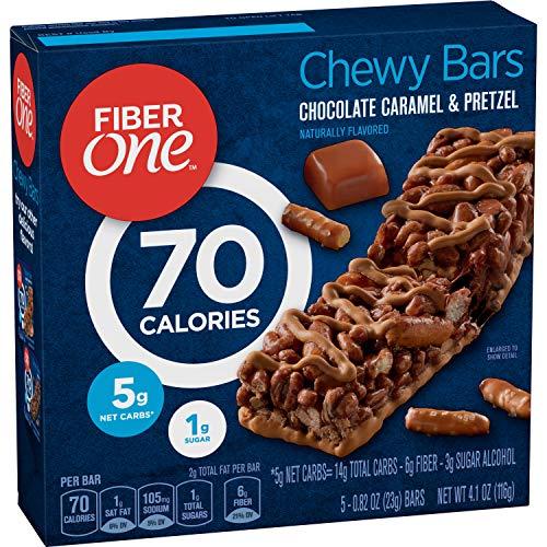 Fiber One 70 Calorie Chocolate Caramel and Pretzel Bars, Snack, 5ct.
