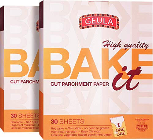 Geula Cut Parchment Paper 30 sheets (2 Pack),, Reusable, Non Stick, High Heat Resistant, Kosher for Passover