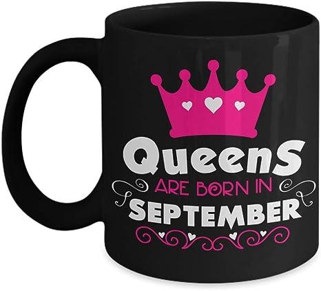 Queens Are Born in September Ceramic Black Mug