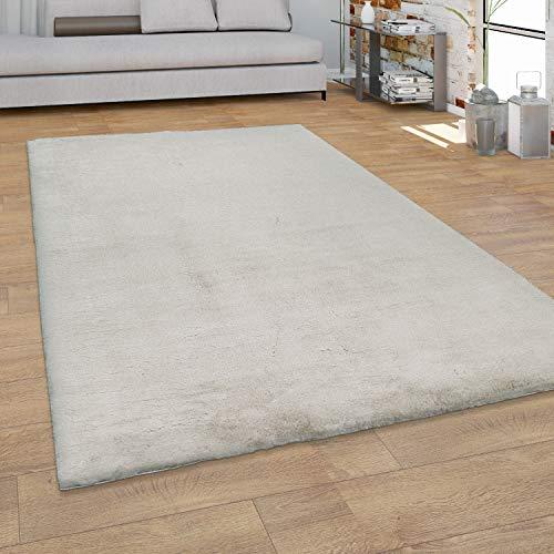 Teppich Wohnzimmer Kunstfell Plüsch Hochflor Shaggy Weich Waschbar, Grösse:80x150 cm, Farbe:Beige