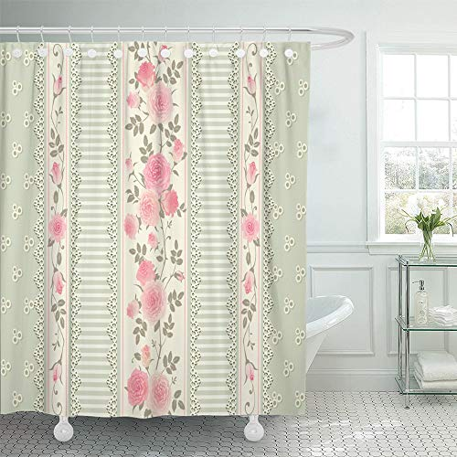 Emvency Shower Curtain Waterproof Polyester Decorative Collection 72 x 72 inches Green Delicate Floral Pattern with Laces Stripes and Pink Roses Shabby Chic Style Set with Hooks Bathroom