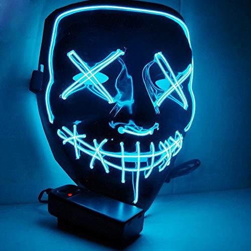 DANGZW Halloween LED Máscaras para Cosplay Festival Party Show Fiesta de Música Mascarada (Azul)