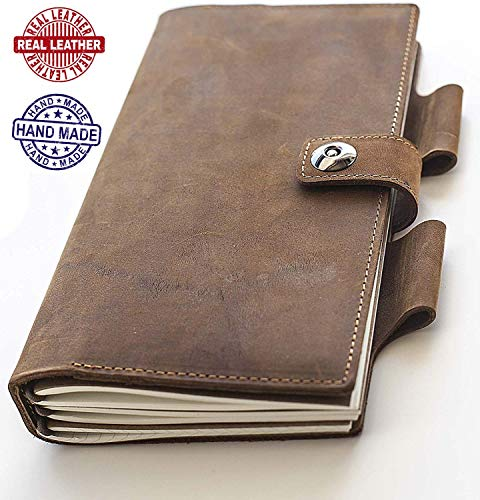 BiG V Refillable Leather Journal - Leatherbound Writing Journal for Men and Women with Pen Holder, Includes Lined Squared and Blank Pages, Notebook For Travelers