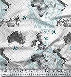 Soimoi Weiß Baumwolle Ente Stoff Fernweh & Flugzeug Reise