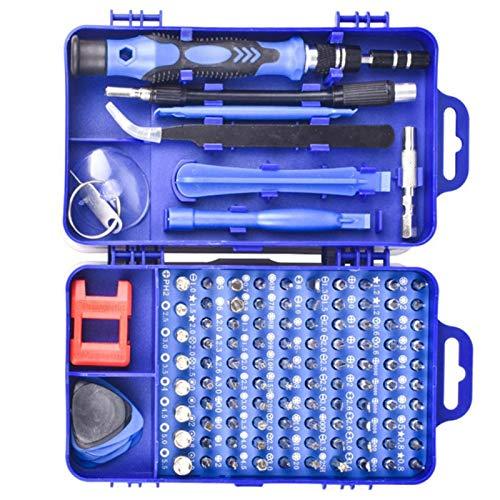 KUIDAMOS Precision 17Pcs Accesorios de extracción 115 en 1 Destornillador bit Herramienta de Mano de extracción Duradera, teléfono, PC(Blue)