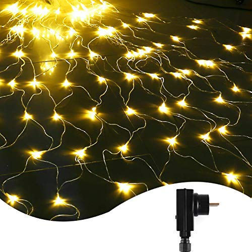 IDESION LED Lichternetz 3 * 2 Meter, 200 LED Lichtervorhang Lichterketten, 8 Lichtmodi Dekoleuchte für Weihnachten, Hochzeit,Halloween Partydekoration, Wintergarten,Außen & Innen(Warmweiß)