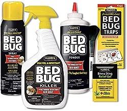 HARRIS Bed Bug Killer Value Bundle Kit - 32oz Bed Bug Killer, 16oz Aerosol Spray, 4oz Bed Bug Powder w/Brush, 4-Pack Bed Bug Detection Glue Traps and Bed Bug Bite Relief Gel